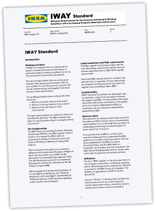 Deckblatt des IKEA IWAY-Standards