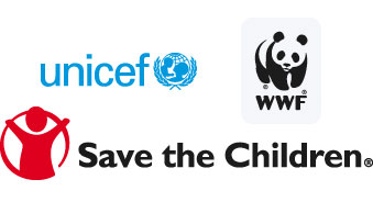 Unicef logo, WWF logo, Save the children logo