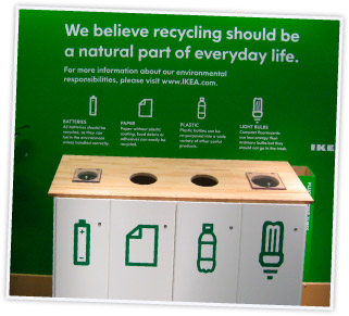 recycling station in an IKEA store