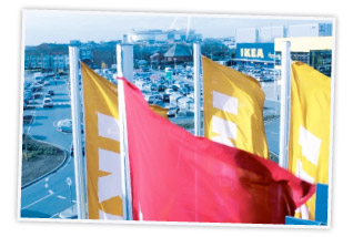IKEA flags in front of a store