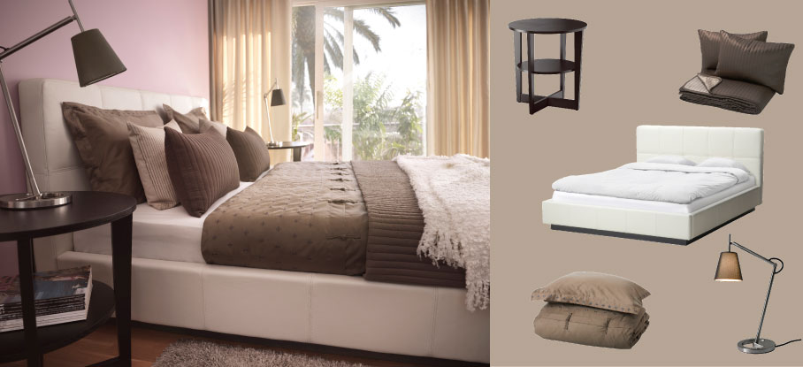 FOLLDAL bed in Robust white leather with VEJMON black-brown side table and KARIT brown bedspread/cushion covers