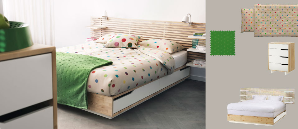 MANDAL solid birch bed with four large drawers, slatted headboard and dotted IKEA PS 2012 quilt cover/pillowcases