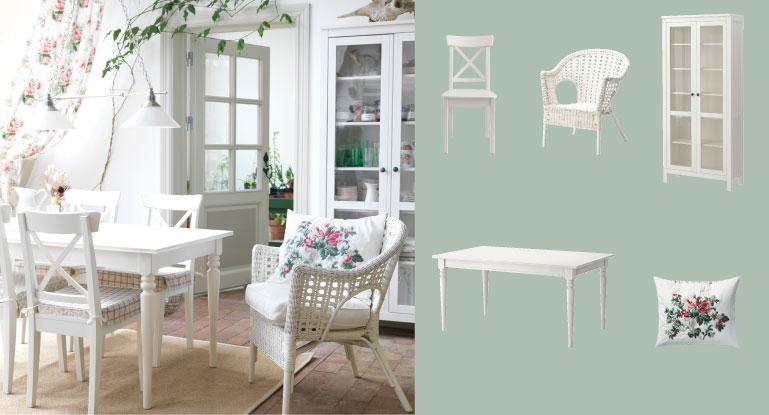 with ingolf solid wood chairs and finntorp rattan chair all in white