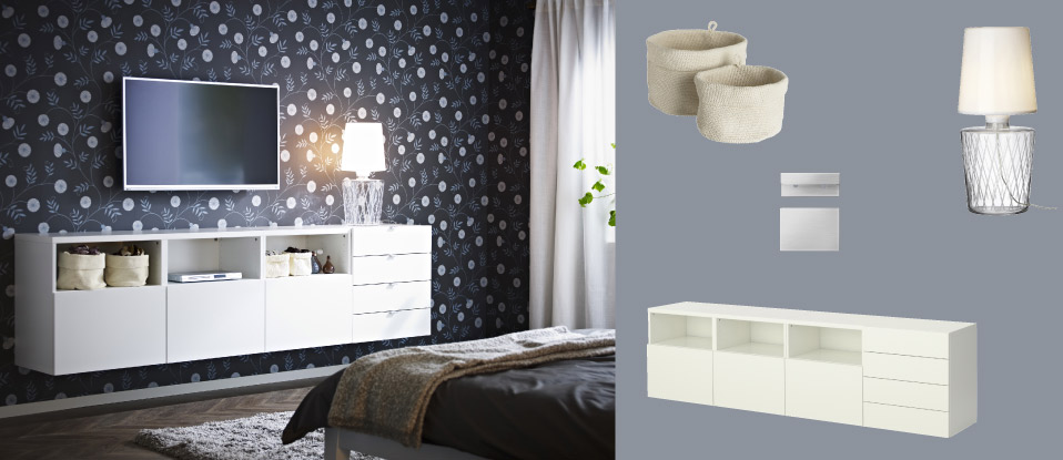 Ideas Ikea Para Espacios Pequeños ~   white wall mounted TV storage combination with doors and drawers