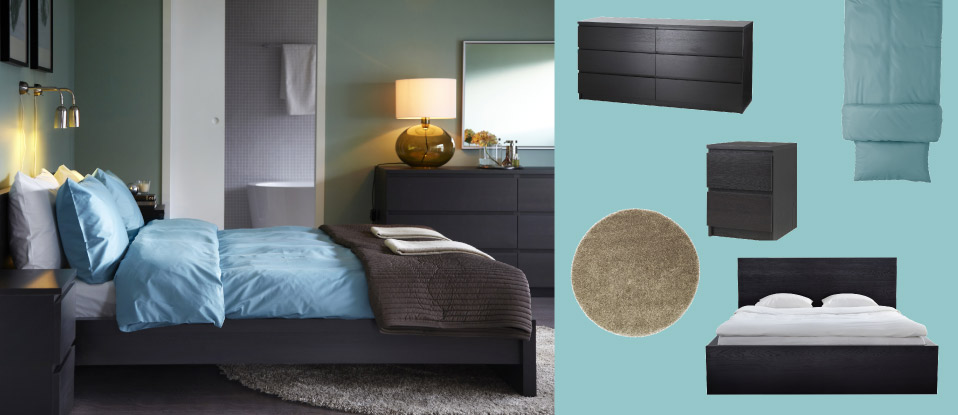 MALM black-brown bed and chest of drawers with LJUSÅS YSBY green table lamp