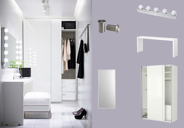 PAX white wardrobe with HASVIK white high-gloss sliding doors and MALM occasional table with STAVE mirror