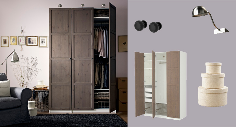 PAX white wardrobe with HEMNES grey-brown doors