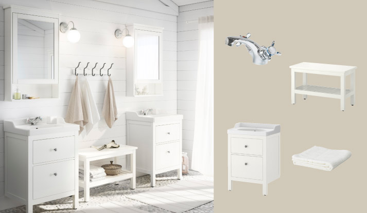 HEMNES R TTVIKEN White Wash Stand With Two Drawers And HEMNES Mirror Cabinet