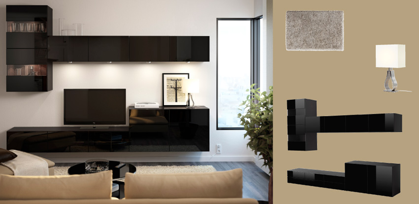 Ikea Besta Planer Android : BEST? black highgloss TV bench and wall cabinets with glass doors