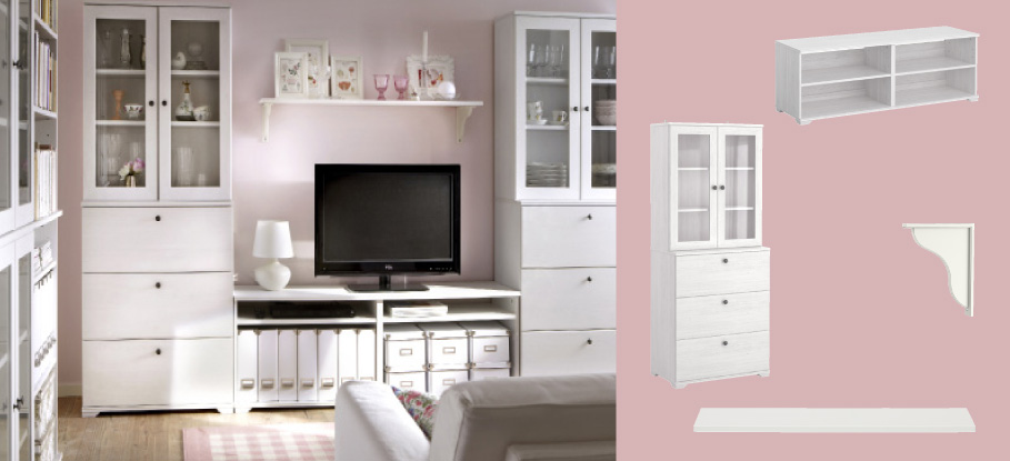 BORGSJÖ white TV storage combination with drawers and glass doors