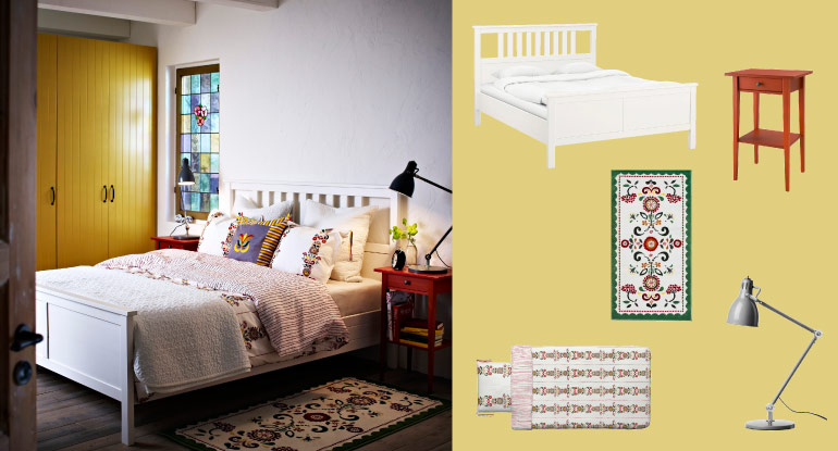 HEMNES white stained bed with red bedside table and ÅKERKULLA quilt cover and pillowcases with floral pattern