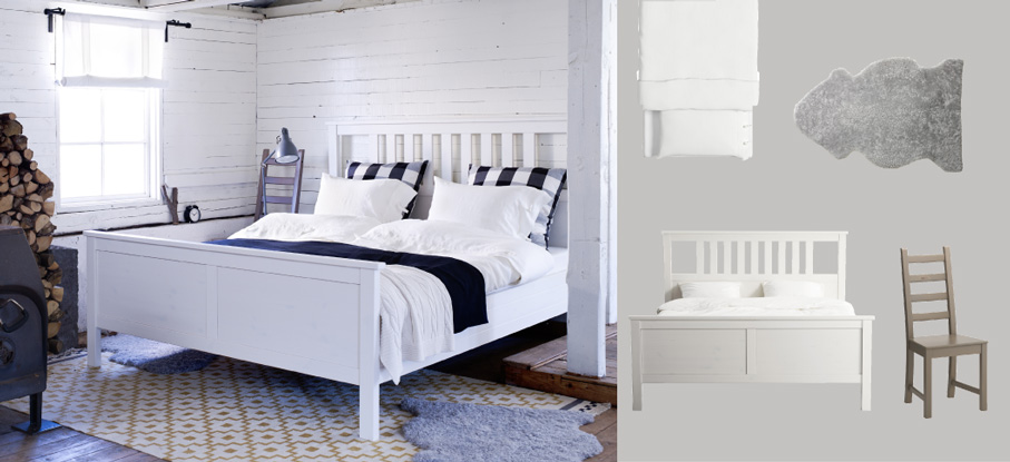 HEMNES white stained bed with LINBLOMMA white quilt cover/pillowcases and LUDDE grey sheepskin