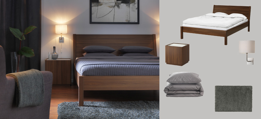 NYVOLL medium brown bed and bedside tables with GÄSPA dark grey quilt cover/pillowcases and ALÄNG wall lamps