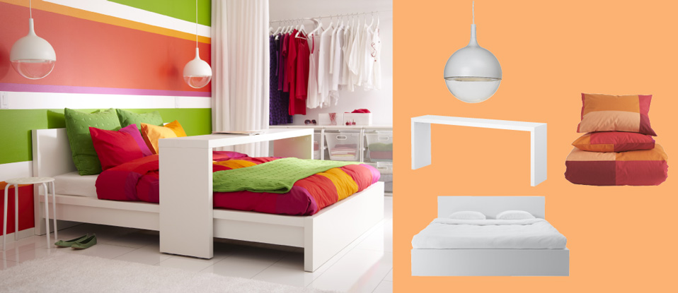 MALM white bed with occasional table and VÄSTER white LED pendant lamps