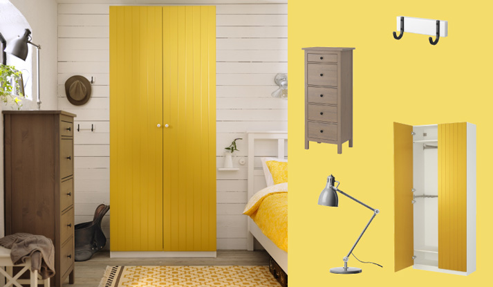 PAX white wardrobe with RISDAL yellow doors