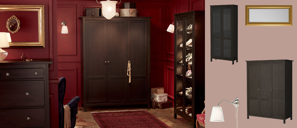 HEMNES wardrobe with 3 doors, glass-door cabinet and chest of drawers all in black-brown