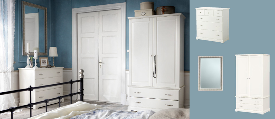BIRKELAND white wardrobe with doors/drawers and chest of drawers