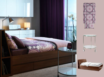 Softly lit bedroom with OPPDAL bedframe, LYCKDAX quilt cover and STRIND sidetable in white.