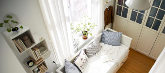 A tiny, shared bedroom