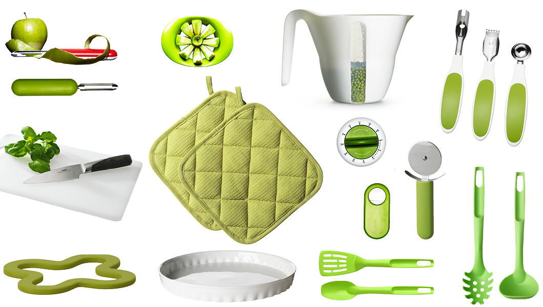 Kitchen accessories and tools in green or with green accents.