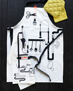 ÅGOT graphic apron, white with black and orange.