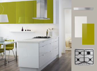 Kitchen with ABSTRAKT white and RUBRIK ABSTRAKT green door fronts and FRAMTID gas HOB