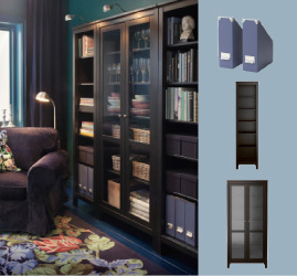 Black/brown HEMNES bookcase with a glass door cabinet and EMMIE PÄRLA rug