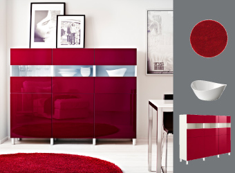 BESTÅ TOFTA media solution in glossy red with MYNDIG bowl and TIVED floorlamp