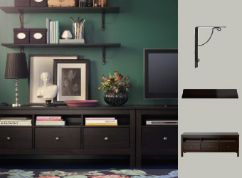 HEMNES TV bench in black/brown with EKBY HEMNES and EKBY VALTER shelf combination