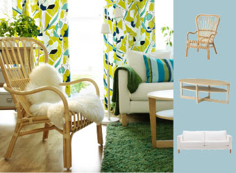STORSELE rattan armchair with LUDDE sheepskin and JANETTE curtain in green