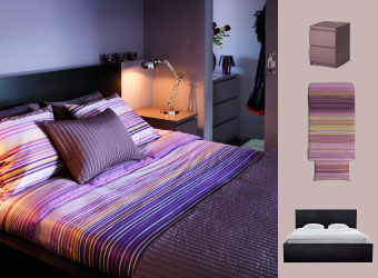 Peaceful bedroom with MALM bed in black/brown and sidetable in purple and PALMILJA quilt cover.
