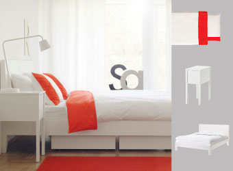 Soft white bedroom with NORDLI bedframe and bedside table accented with FÄRGLAV red quilt cover set.