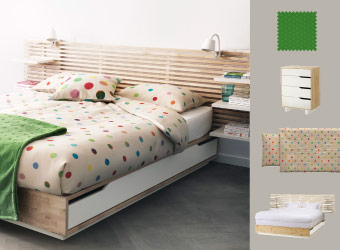 Charming bedroom with MANDAL bed frame in solid wood and IKEA PS quiltcover set in mulitcoloured dots.