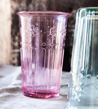 Light pink drinking glass.