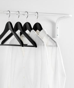 MULIG clothes bar in white, wall mounted.