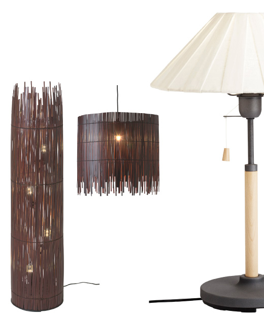 ROTVIG bamboo floor lamp, inspired by sun shining through a fence.