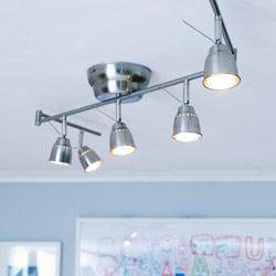 BAROMETER ceiling track, nickel-plated with 5 spotlights