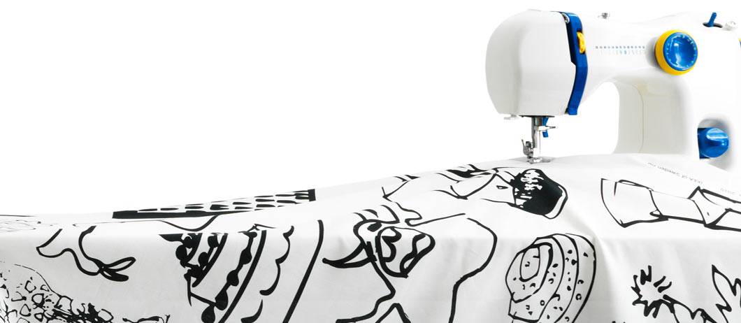 SY sewing-machine with JULITA black and white metre fabric