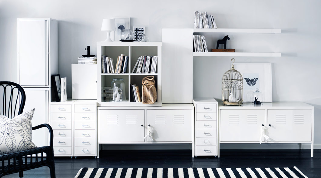 Workspace storage solution in white with HELMER, IKEA PS cabinets & EXPEDIT bookcase.
