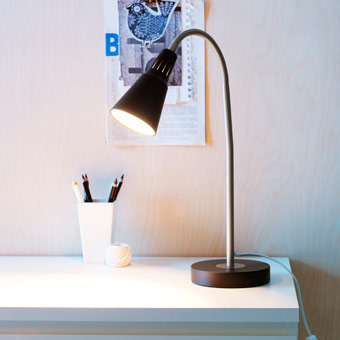 KVART black work lamp with adjustable arm.