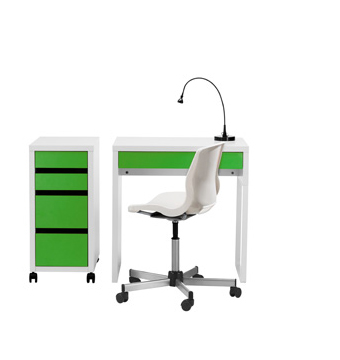 MICKE white and green desk with matching MICKE drawer unit on castors.