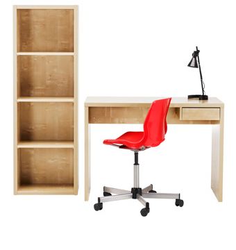 LASSE desk with bookcase in birch effect.