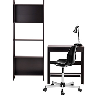 LAIVA bookcase and desk in black/brown.