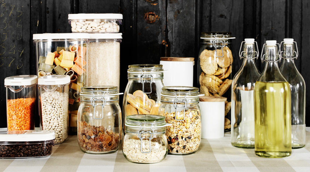 Glass bottles with stoppers and other airtight food storage.