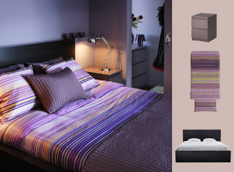 Lilac chest of drawers, black-brown bed and striped quilt cover