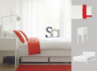 NORDLI white bedside table and bed with red/white quilt cover