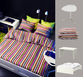 White bench and laptop table with multicoloured quilt cover