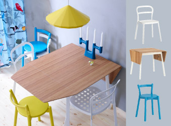 Suspension IKEA PS 2012 en jaune et table IKEA PS 2012 avec chaise REIDAR en blanc