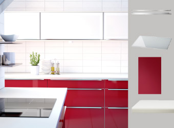 Kitchen with white glass and red doors and NUMERÄR white worktop