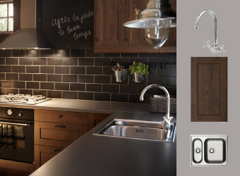 Kitchen with brown wood effect doors and chrome-plated mixer tap
